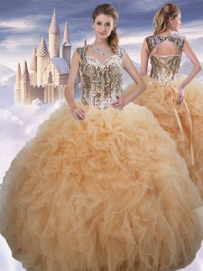Hot Selling Ball Gowns Sweet 16 Dresses Champagne Sweetheart Organza Sleeveless Floor Length Lace Up