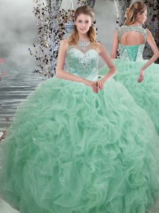 Apple Green Ball Gowns Beading and Ruffles 15th Birthday Dress Lace Up Organza Sleeveless Floor Length