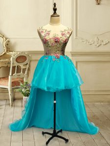 Scoop Sleeveless Lace Up Prom Gown Baby Blue Organza