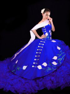 Glamorous Royal Blue Sweet 16 Quinceanera Dress Sweetheart Sleeveless Brush Train Lace Up