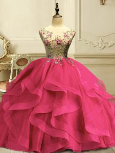 Sleeveless Appliques and Ruffles Lace Up 15th Birthday Dress