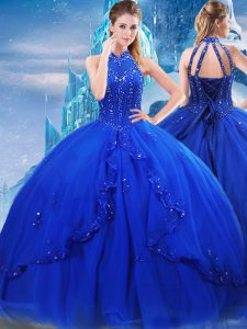 Lovely Tulle High-neck Sleeveless Brush Train Lace Up Beading and Ruffles Sweet 16 Dress in Royal Blue