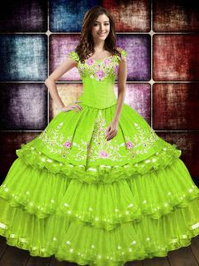 Comfortable Floor Length Lace Up Quinceanera Dresses Yellow Green for Military Ball and Sweet 16 and Quinceanera with Embroidery and Ruffled Layers