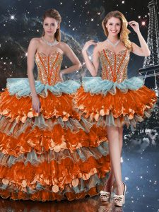 Decent Multi-color Sleeveless Organza Lace Up Quinceanera Gowns for Military Ball and Sweet 16 and Quinceanera