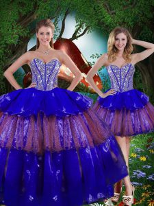 Popular Floor Length Multi-color Ball Gown Prom Dress Sweetheart Sleeveless Lace Up