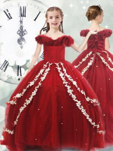 Wine Red Little Girl Pageant Dress Quinceanera and Wedding Party with Appliques Off The Shoulder Sleeveless Brush Train Lace Up
