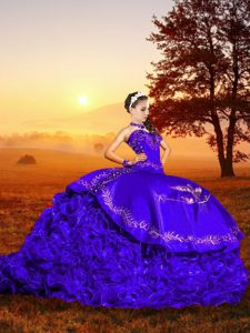 Sweetheart Sleeveless Brush Train Lace Up Quinceanera Gown Purple Organza