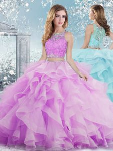 Scoop Sleeveless 15th Birthday Dress Floor Length Beading and Ruffles Lilac Organza