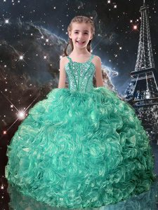 Organza Straps Sleeveless Lace Up Beading and Ruffles Little Girl Pageant Dress in Turquoise