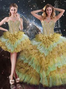 Sweetheart Sleeveless Lace Up Quinceanera Dresses Multi-color Organza