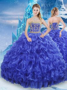 Superior Ball Gowns Quinceanera Gowns Royal Blue Strapless Organza Sleeveless Floor Length Lace Up