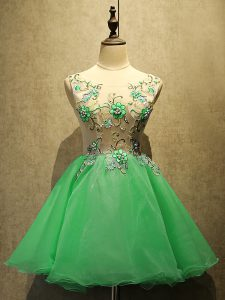 Fine Green Organza Lace Up Scoop Sleeveless Mini Length Prom Party Dress Embroidery