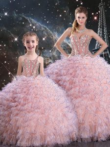 Dynamic Baby Pink Sleeveless Floor Length Beading and Ruffles Lace Up 15 Quinceanera Dress
