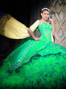 Graceful Sleeveless Organza With Brush Train Lace Up Vestidos de Quinceanera in Green with Embroidery and Ruffles