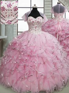 Delicate Ball Gowns Sleeveless Baby Pink Quinceanera Dress Brush Train Lace Up