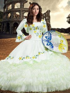 Glorious Floor Length White Quince Ball Gowns Square Long Sleeves Lace Up