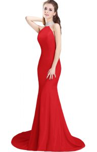 Sleeveless Elastic Woven Satin Brush Train Side Zipper Prom Gown in Red with Beading