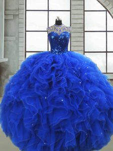 Royal Blue Sleeveless Ruffles and Sequins Floor Length Sweet 16 Dress