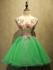 Pretty A-line Dress for Prom Green Scoop Organza Sleeveless Mini Length Lace Up