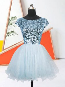 Attractive Light Blue A-line Organza Scoop Short Sleeves Sequins Mini Length Lace Up Prom Dresses