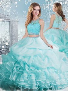 Floor Length Aqua Blue Quince Ball Gowns Organza Sleeveless Beading and Ruffles and Pick Ups