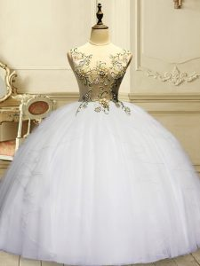 Extravagant White Ball Gowns Organza Scoop Sleeveless Appliques and Ruffles Floor Length Lace Up Quinceanera Gowns
