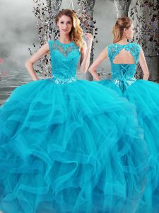 Fine Scoop Sleeveless 15th Birthday Dress Floor Length Beading and Ruffles Baby Blue Tulle