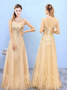 Romantic Gold Bridesmaid Gown Wedding Party with Beading and Appliques Scoop Sleeveless Lace Up