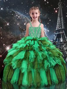 Apple Green Tulle Lace Up Little Girl Pageant Gowns Sleeveless Floor Length Beading and Ruffles