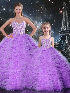 Chic Floor Length Lavender 15th Birthday Dress Sweetheart Sleeveless Lace Up