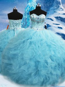 Fitting Tulle Sleeveless Floor Length Sweet 16 Quinceanera Dress and Beading and Pick Ups