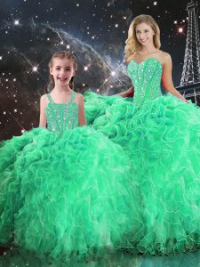 Spectacular Green Sweetheart Neckline Beading and Ruffles Quinceanera Gown Sleeveless Lace Up