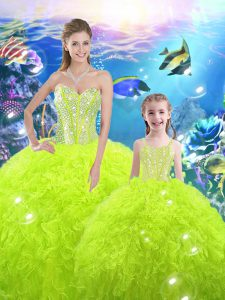 Yellow Green Quince Ball Gowns Military Ball and Sweet 16 and Quinceanera with Beading and Ruffles Sweetheart Sleeveless Lace Up