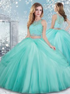 Aqua Blue Clasp Handle Scoop Beading and Lace Quince Ball Gowns Tulle Sleeveless