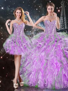 Dazzling Lilac Organza Lace Up Sweet 16 Dress Sleeveless Floor Length Beading and Ruffles