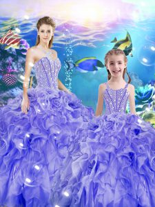 Floor Length Lavender Quinceanera Dress Organza Sleeveless Beading and Ruffles