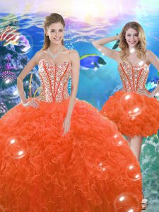 Orange Red Lace Up Sweetheart Beading and Ruffles Vestidos de Quinceanera Organza Sleeveless