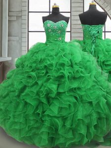 Latest Sweetheart Sleeveless 15th Birthday Dress Floor Length Beading and Ruffles Green Organza