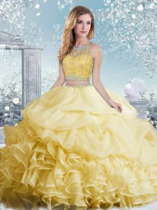 Yellow Sleeveless Beading and Ruffles and Pick Ups Floor Length Sweet 16 Dresses