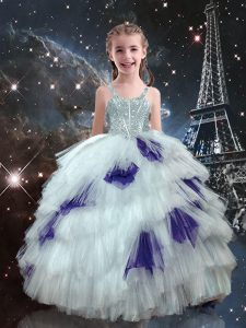 Floor Length White Child Pageant Dress Tulle Sleeveless Beading and Ruffled Layers