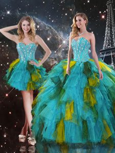 Graceful Multi-color Three Pieces Sweetheart Sleeveless Tulle Floor Length Lace Up Beading and Ruffles Vestidos de Quinceanera