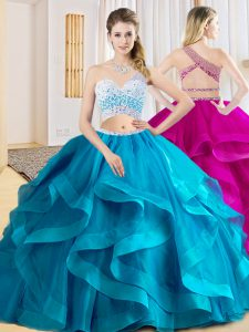High Class Baby Blue Criss Cross One Shoulder Beading and Ruffles Quinceanera Gowns Tulle Sleeveless