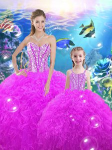 Sleeveless Floor Length Beading and Ruffles Lace Up Quinceanera Dresses with Fuchsia