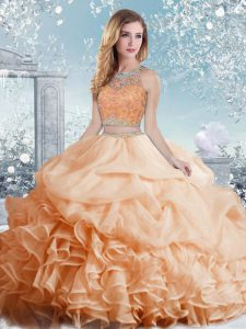 Pretty Peach Sleeveless Beading and Ruffles and Pick Ups Floor Length Sweet 16 Quinceanera Dress