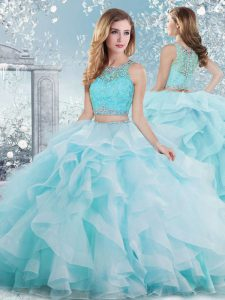 Organza Scoop Sleeveless Clasp Handle Beading and Ruffles Quinceanera Gown in Aqua Blue