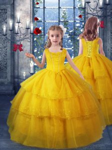 Nice Gold V-neck Neckline Ruffled Layers Little Girls Pageant Gowns Sleeveless Lace Up