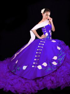 Sweetheart Sleeveless Brush Train Lace Up 15 Quinceanera Dress Purple Organza