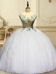 Superior Sleeveless Lace Up Floor Length Appliques and Ruffles Sweet 16 Quinceanera Dress