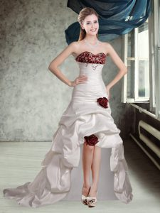 Exquisite White And Red A-line Appliques and Pick Ups and Hand Made Flower Wedding Dress Lace Up Taffeta Sleeveless High Low