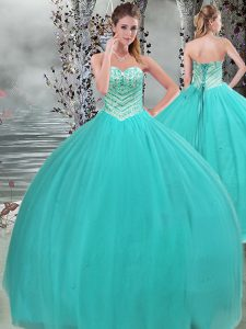 Gorgeous Turquoise Ball Gowns Tulle Sweetheart Sleeveless Beading Floor Length Lace Up Quinceanera Dress